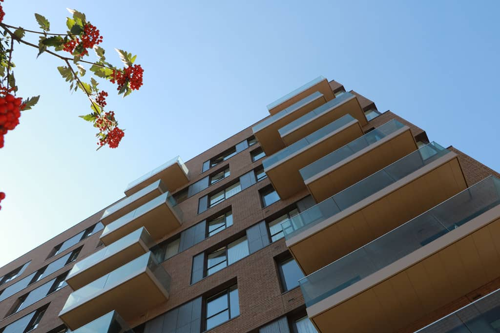 Glide-On Balconies in Spring morning at London Greenwich
