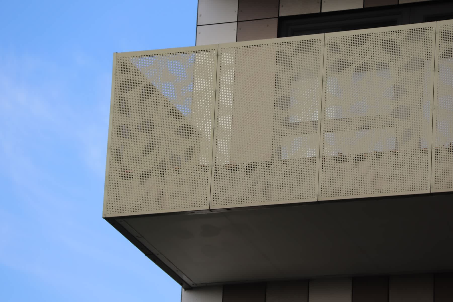leaf pattern perforated into metal panels