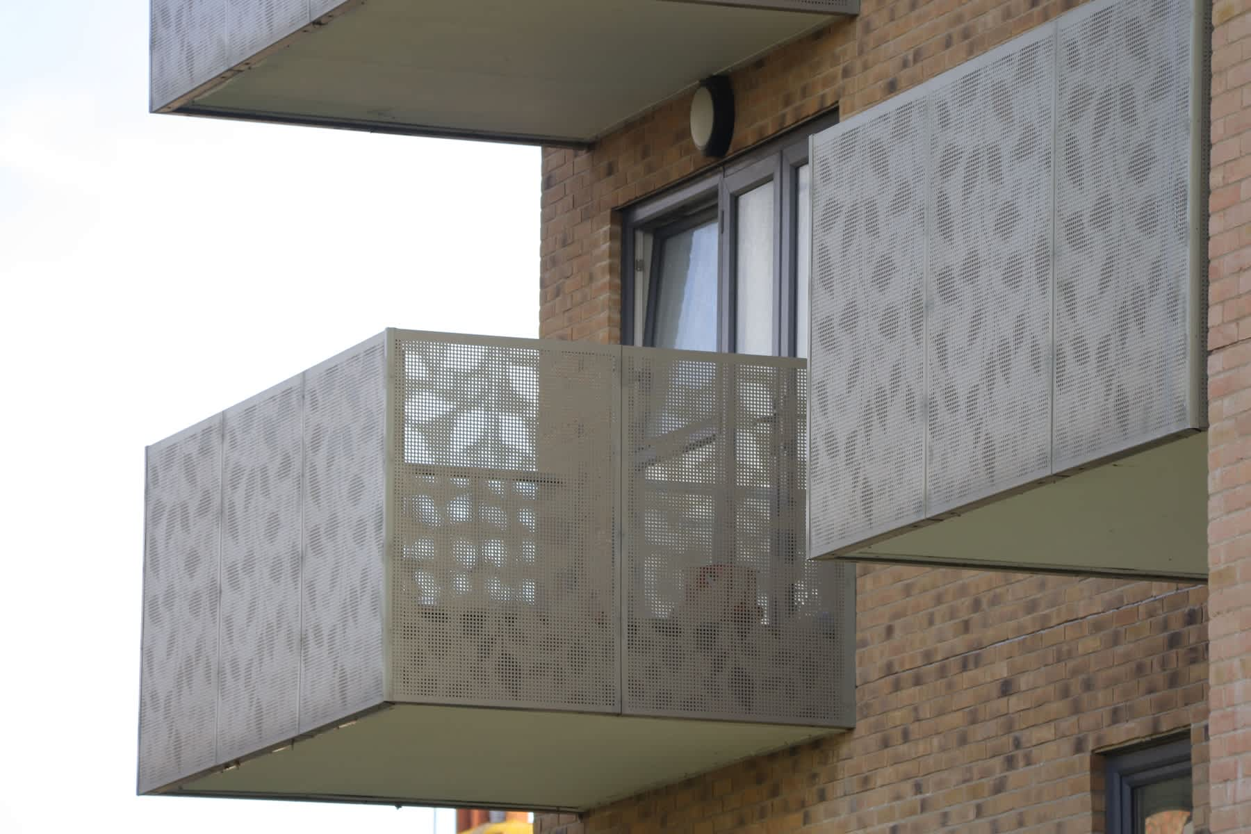 Perforated Balustrade panels at Allen Court, Greenford, London